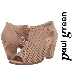Paul Green NEW Perforated Leather Peep Toe Booties